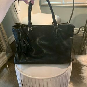 Anya Hindmarch black leather tote bag - pre-loved